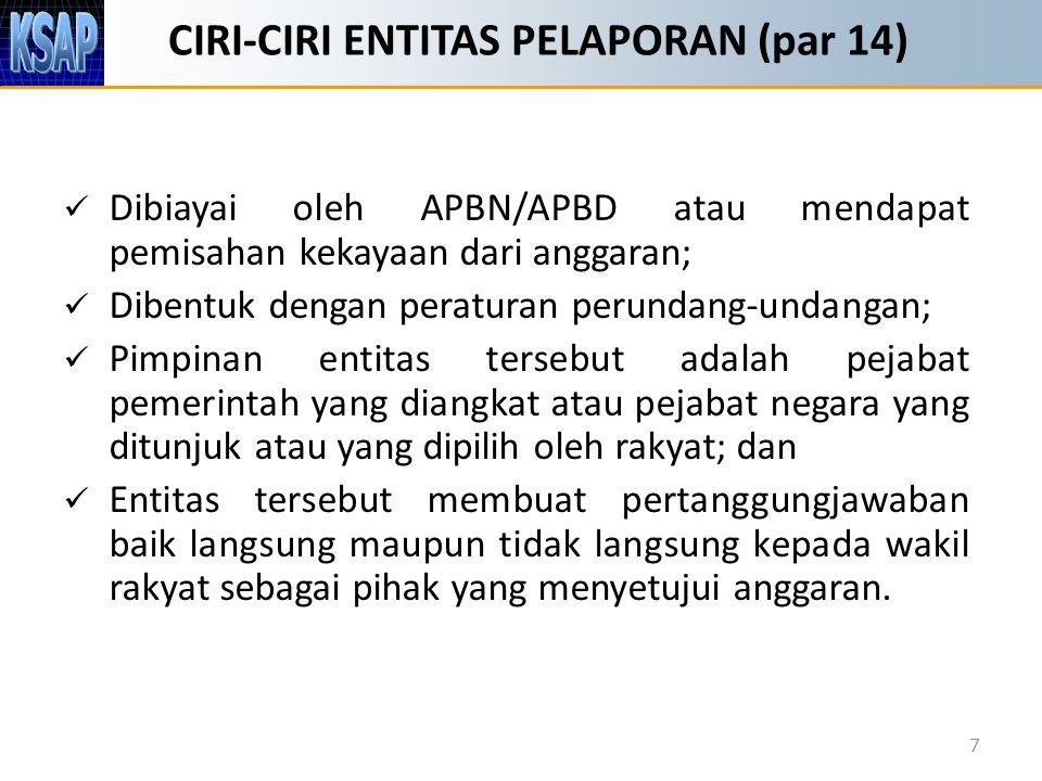 CIRI-CIRI ENTITAS PELAPORAN (par 14) Dibiayai oleh APBN/APBD atau mendapat pemisahan kekayaan dari anggaran; Dibentuk dengan peraturan perundang-undan