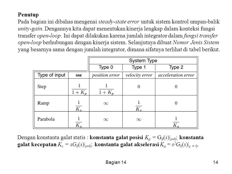 Bagian 1414 Penutup Pada bagian ini dibahas mengenai steady-state error untuk sistem kontrol umpan-balik unity-gain. Dengannya kita dapat menentukan k