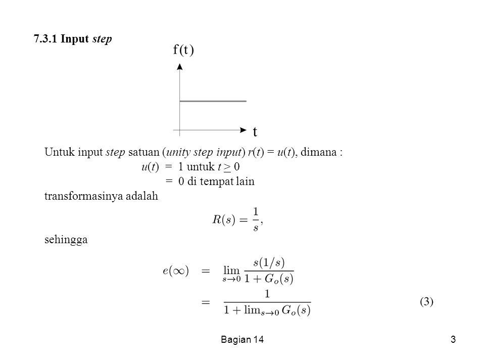 Bagian 143 7.3.1 Input step Untuk input step satuan (unity step input) r(t) = u(t), dimana : u(t) = 1 untuk t > 0 = 0 di tempat lain transformasinya a