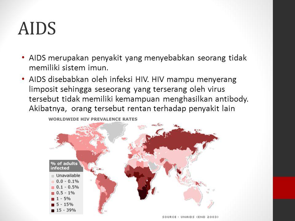 AIDS AIDS merupakan penyakit yang menyebabkan seorang tidak memiliki sistem imun. AIDS disebabkan oleh infeksi HIV. HIV mampu menyerang limposit sehin