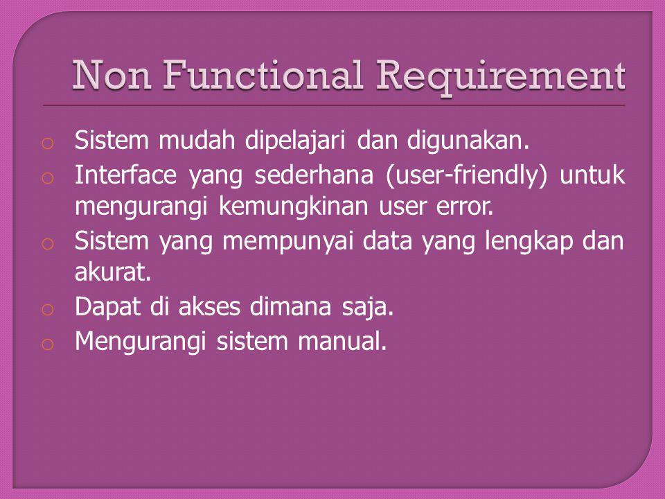 o Sistem mudah dipelajari dan digunakan. o Interface yang sederhana (user-friendly) untuk mengurangi kemungkinan user error. o Sistem yang mempunyai d