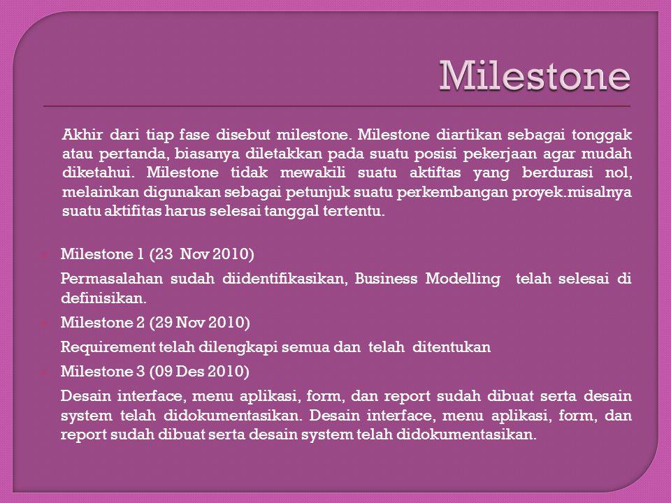 Akhir dari tiap fase disebut milestone. Milestone diartikan sebagai tonggak atau pertanda, biasanya diletakkan pada suatu posisi pekerjaan agar mudah
