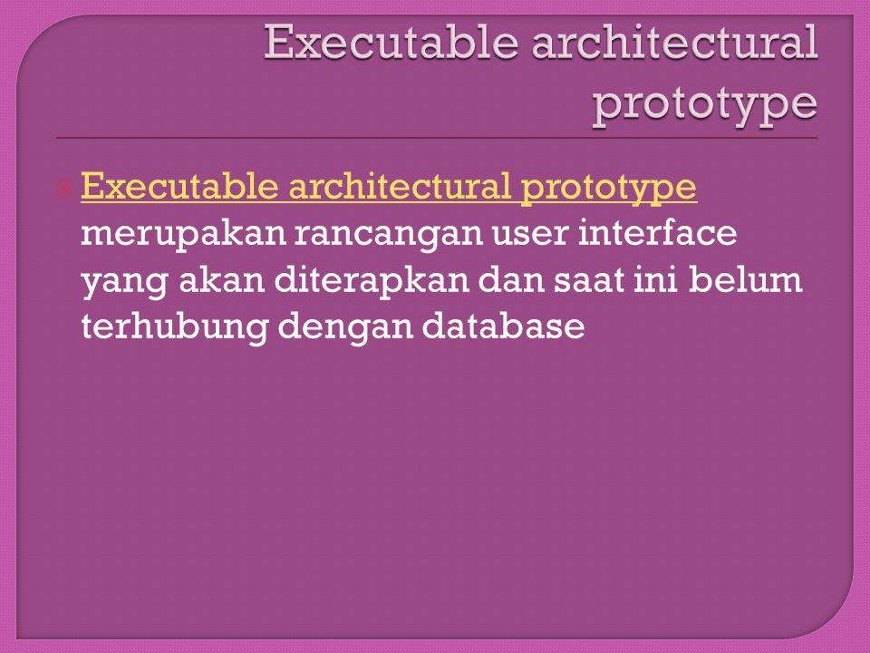  Executable architectural prototype merupakan rancangan user interface yang akan diterapkan dan saat ini belum terhubung dengan database Executable a