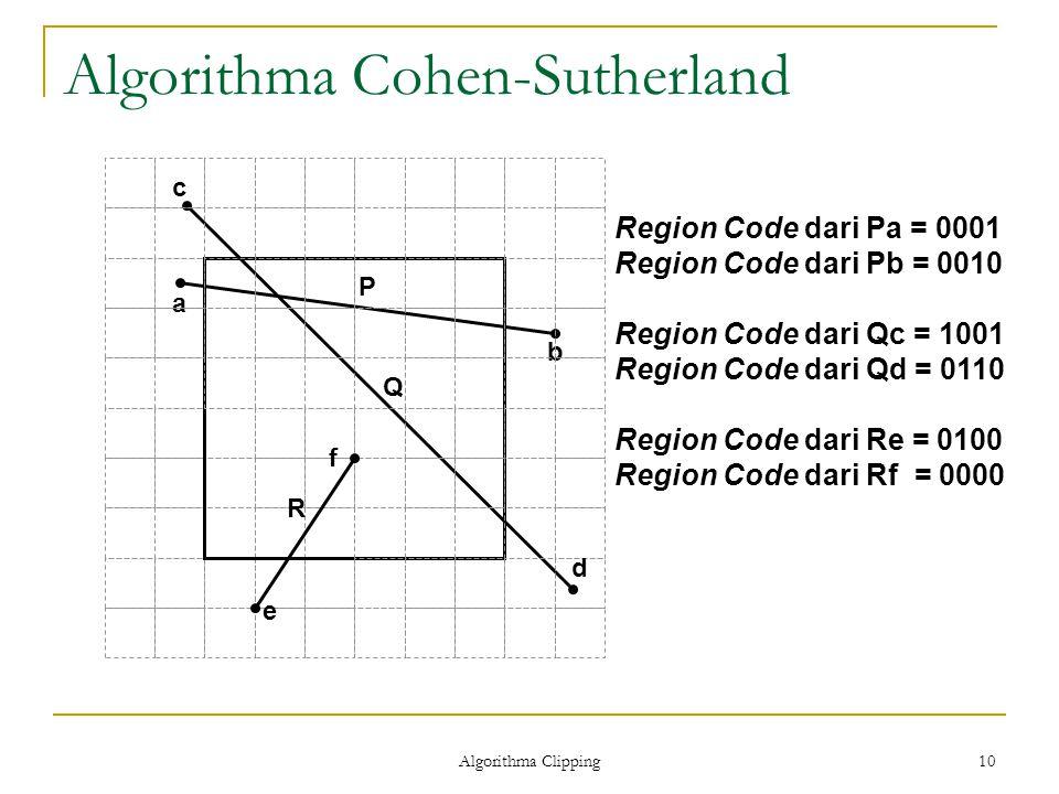 Algorithma Clipping 10 Algorithma Cohen-Sutherland Region Code dari Pa = 0001 Region Code dari Pb = 0010 Region Code dari Qc = 1001 Region Code dari Q