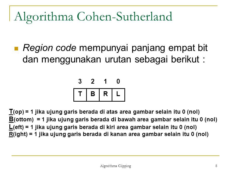Algorithma Clipping 8 Algorithma Cohen-Sutherland Region code mempunyai panjang empat bit dan menggunakan urutan sebagai berikut : TBRL3210 T (op) = 1