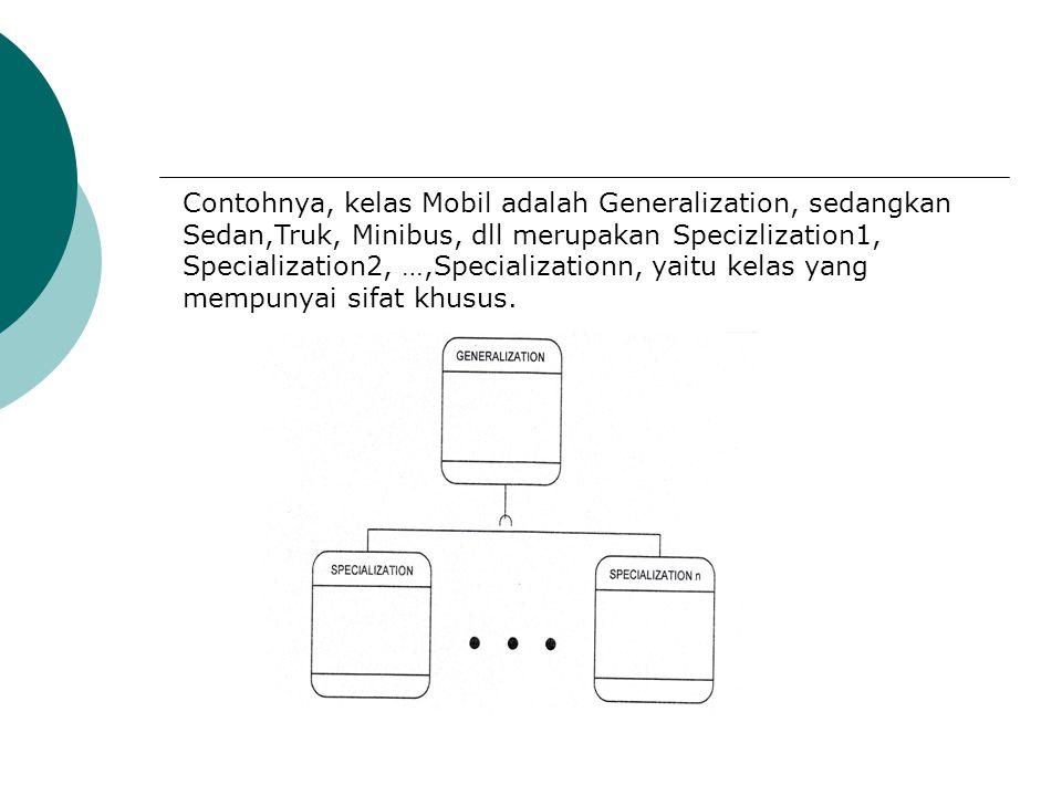 Contohnya, kelas Mobil adalah Generalization, sedangkan Sedan,Truk, Minibus, dll merupakan Specizlization1, Specialization2, …,Specializationn, yaitu
