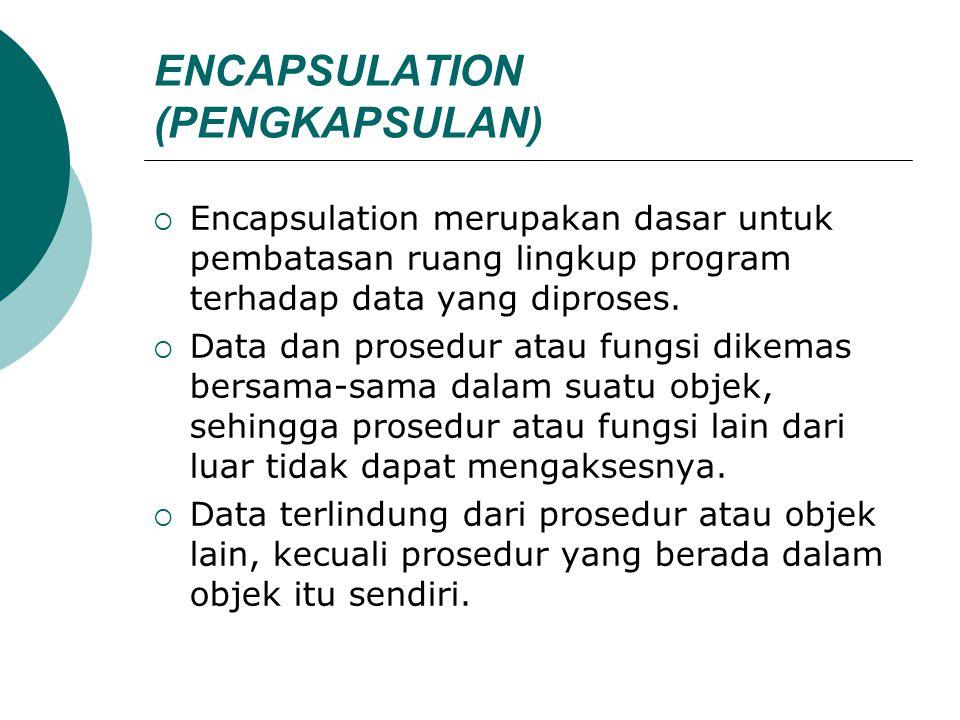 ENCAPSULATION (PENGKAPSULAN)  Encapsulation merupakan dasar untuk pembatasan ruang lingkup program terhadap data yang diproses.  Data dan prosedur a