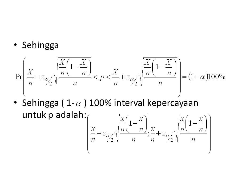 Sehingga Sehingga ( 1- ) 100% interval kepercayaan untuk p adalah: