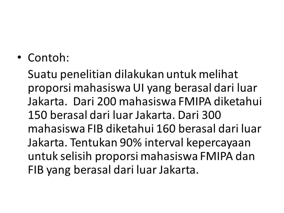 Contoh: Suatu penelitian dilakukan untuk melihat proporsi mahasiswa UI yang berasal dari luar Jakarta. Dari 200 mahasiswa FMIPA diketahui 150 berasal