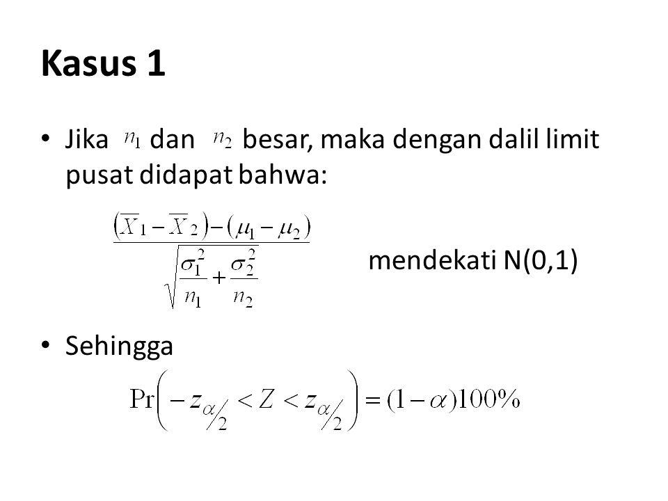 Kasus 1 Jika dan besar, maka dengan dalil limit pusat didapat bahwa: mendekati N(0,1) Sehingga