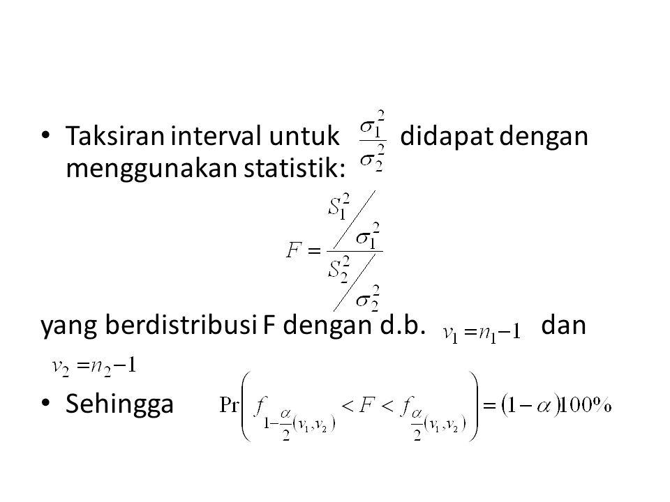 Taksiran interval untuk didapat dengan menggunakan statistik: yang berdistribusi F dengan d.b. dan Sehingga