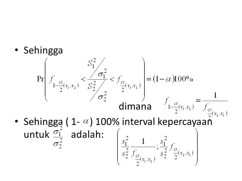 dimana Sehingga ( 1- ) 100% interval kepercayaan untuk adalah: