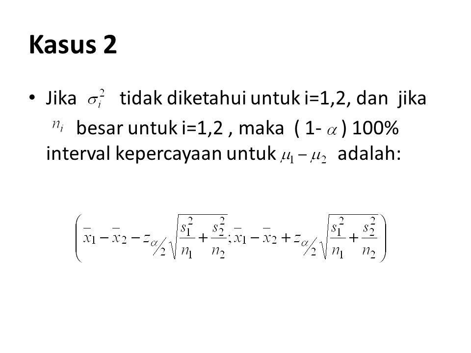 Kasus 2 Jika tidak diketahui untuk i=1,2, dan jika besar untuk i=1,2, maka ( 1- ) 100% interval kepercayaan untuk adalah: