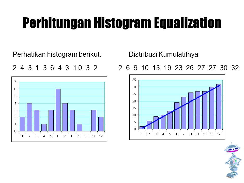 Perhitungan Histogram Equalization Perhatikan histogram berikut: 2 4 3 1 3 6 4 3 1 0 3 2 Distribusi Kumulatifnya 2 6 9 10 13 19 23 26 27 27 30 32