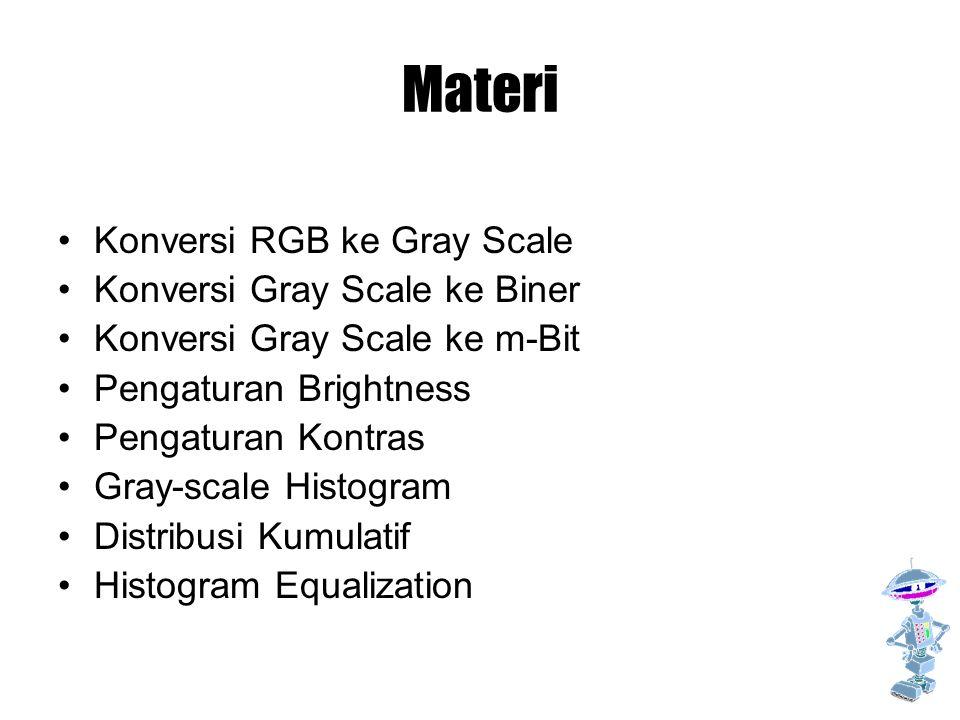 Materi Konversi RGB ke Gray Scale Konversi Gray Scale ke Biner Konversi Gray Scale ke m-Bit Pengaturan Brightness Pengaturan Kontras Gray-scale Histog