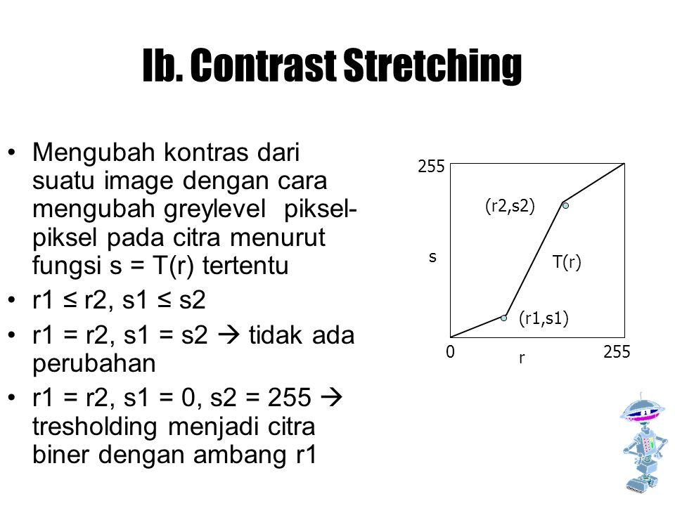 Ib. Contrast Stretching Mengubah kontras dari suatu image dengan cara mengubah greylevel piksel- piksel pada citra menurut fungsi s = T(r) tertentu r1