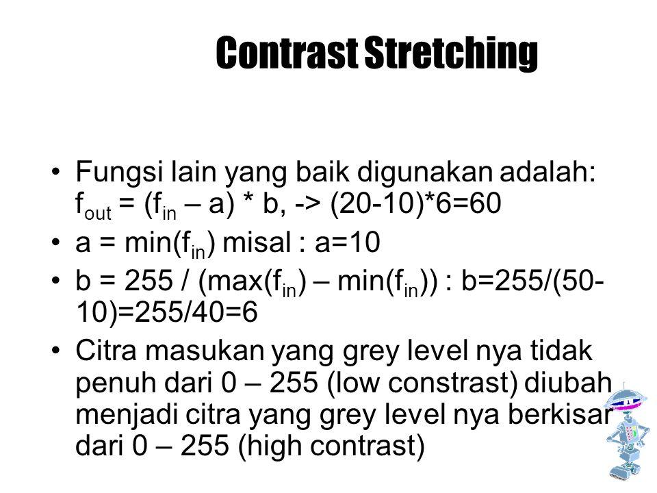 Contrast Stretching Fungsi lain yang baik digunakan adalah: f out = (f in – a) * b, -> (20-10)*6=60 a = min(f in ) misal : a=10 b = 255 / (max(f in )