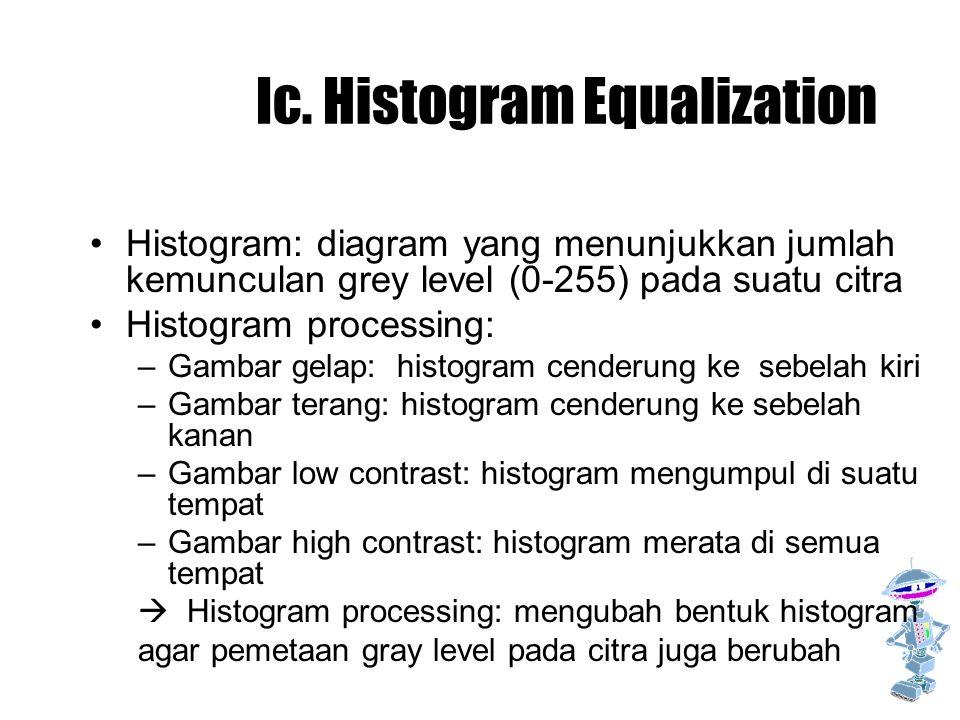 Ic. Histogram Equalization Histogram: diagram yang menunjukkan jumlah kemunculan grey level (0-255) pada suatu citra Histogram processing: –Gambar gel