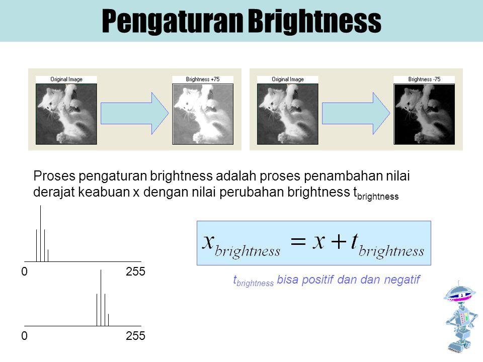 Pengaturan Brightness Proses pengaturan brightness adalah proses penambahan nilai derajat keabuan x dengan nilai perubahan brightness t brightness t b