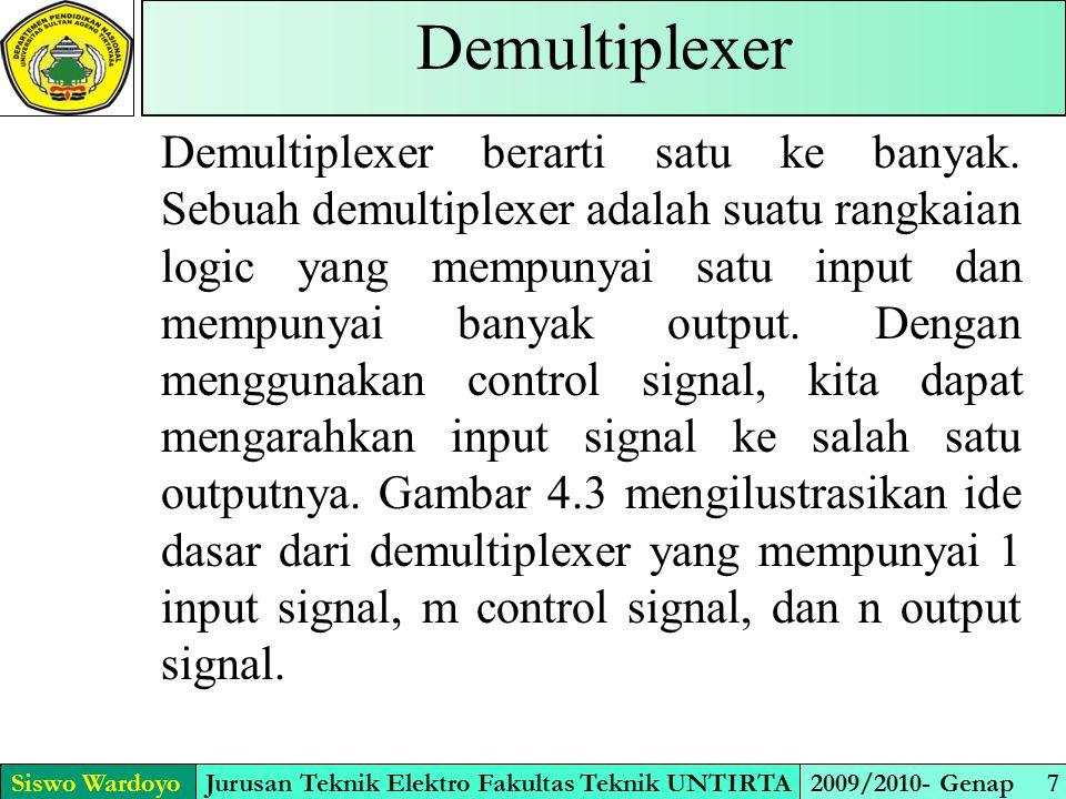 Simbol Demultiplexer Siswo WardoyoJurusan Teknik Elektro Fakultas Teknik UNTIRTA2009/2010- Genap 8