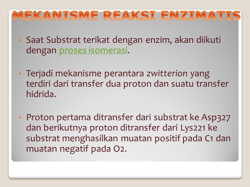Saat Substrat terikat dengan enzim, akan diikuti dengan proses isomerasi.proses isomerasi Terjadi mekanisme perantara zwitterion yang terdiri dari tra