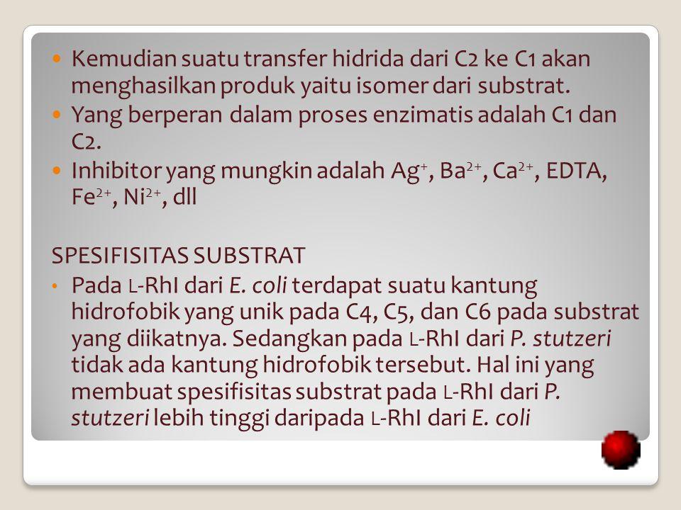 Kemudian suatu transfer hidrida dari C2 ke C1 akan menghasilkan produk yaitu isomer dari substrat. Yang berperan dalam proses enzimatis adalah C1 dan