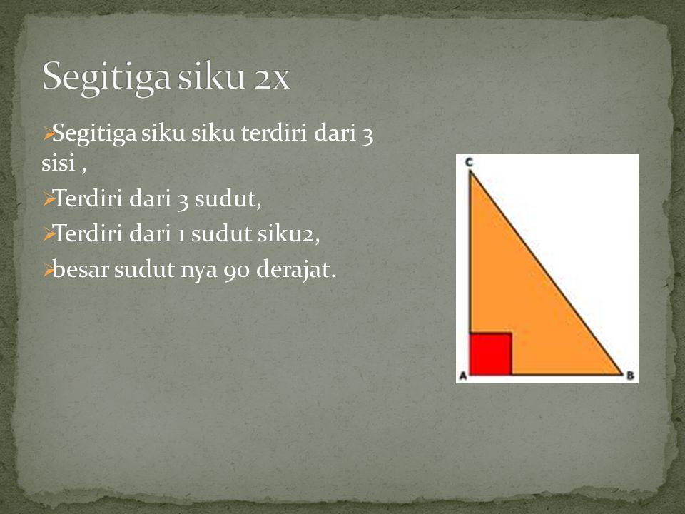  Segitiga siku siku terdiri dari 3 sisi,  Terdiri dari 3 sudut,  Terdiri dari 1 sudut siku2,  besar sudut nya 90 derajat.