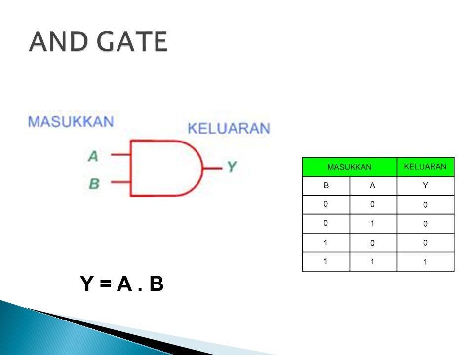 Tidak ada VCC yang melewati rangkaian sehingga output (Y) = 0  A dan atau B = 0 (terhubung dengan ground) 0 0 0