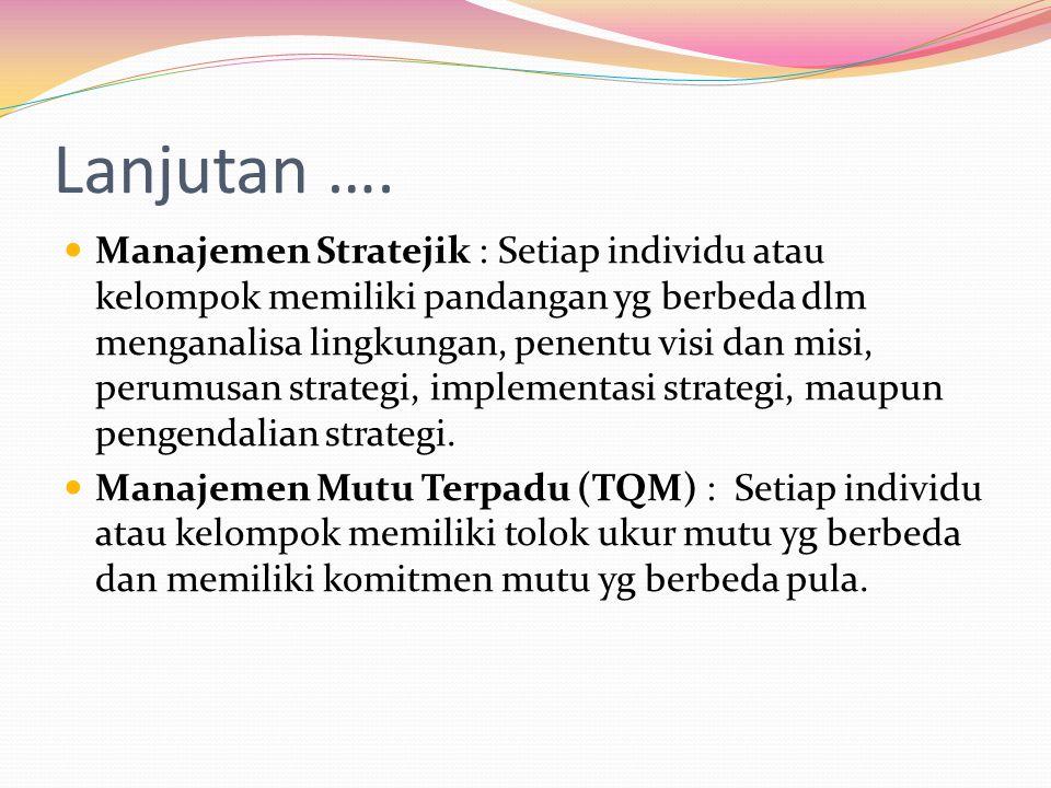 Lanjutan …. Manajemen Stratejik : Setiap individu atau kelompok memiliki pandangan yg berbeda dlm menganalisa lingkungan, penentu visi dan misi, perum