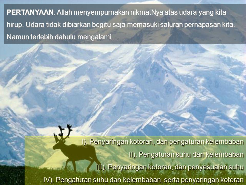 PERTANYAAN: Allah menyempurnakan nikmatNya atas udara yang kita hirup.