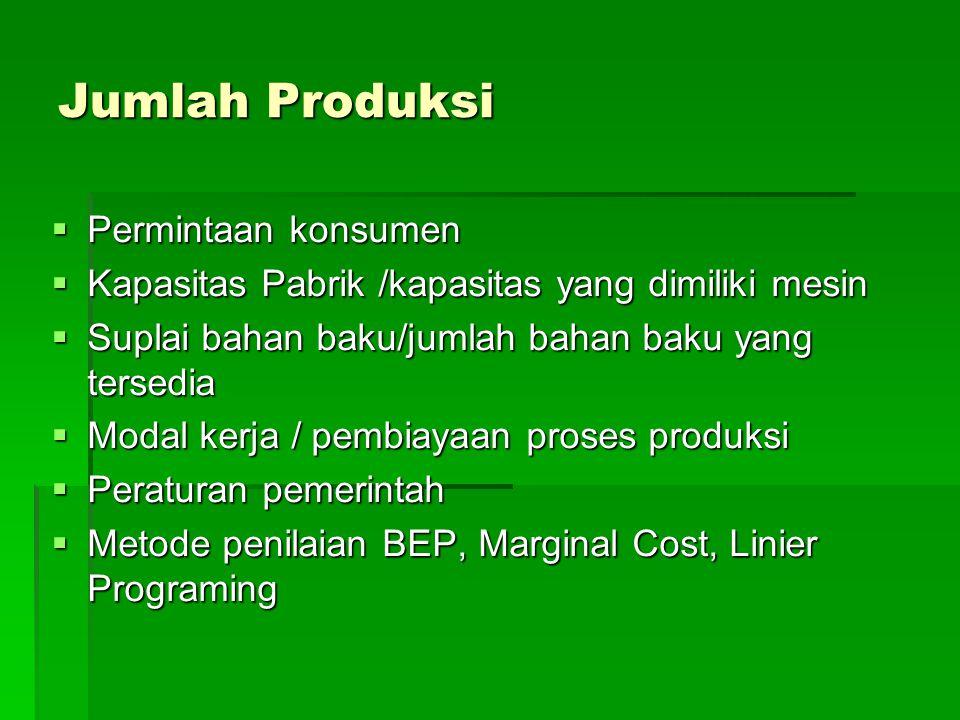 Jumlah Produksi  Permintaan konsumen  Kapasitas Pabrik /kapasitas yang dimiliki mesin  Suplai bahan baku/jumlah bahan baku yang tersedia  Modal kerja / pembiayaan proses produksi  Peraturan pemerintah  Metode penilaian BEP, Marginal Cost, Linier Programing