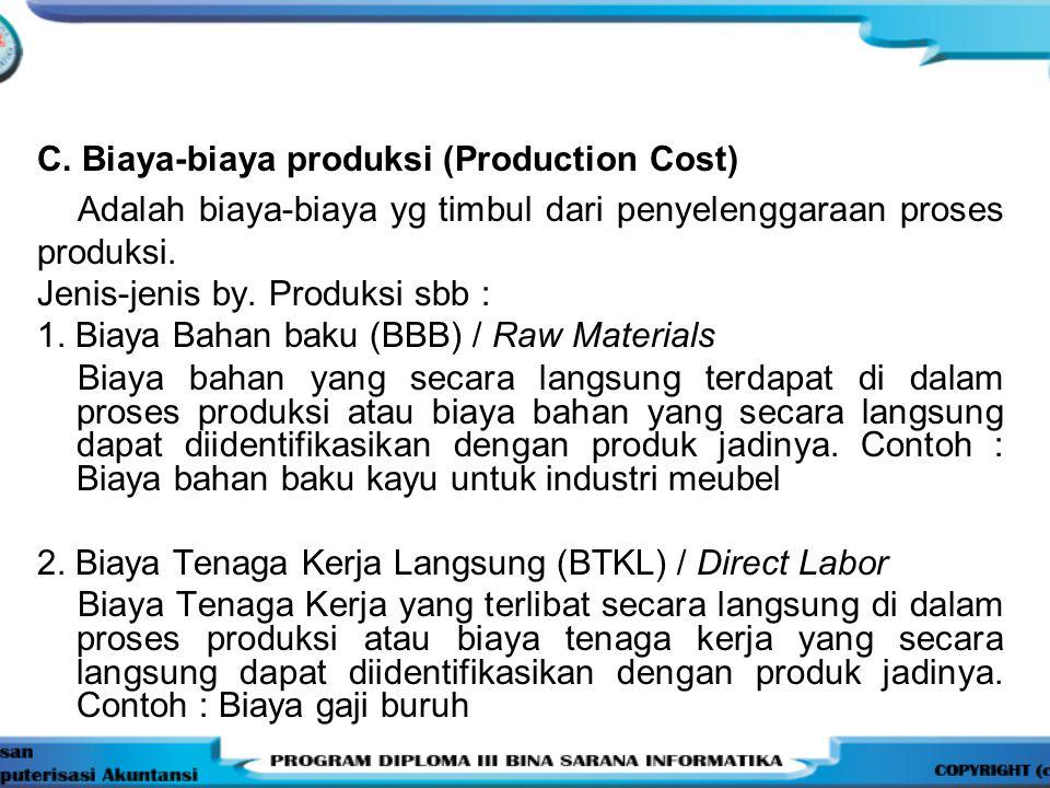 C. Biaya-biaya produksi (Production Cost) Adalah biaya-biaya yg timbul dari penyelenggaraan proses produksi. Jenis-jenis by. Produksi sbb : 1. Biaya B