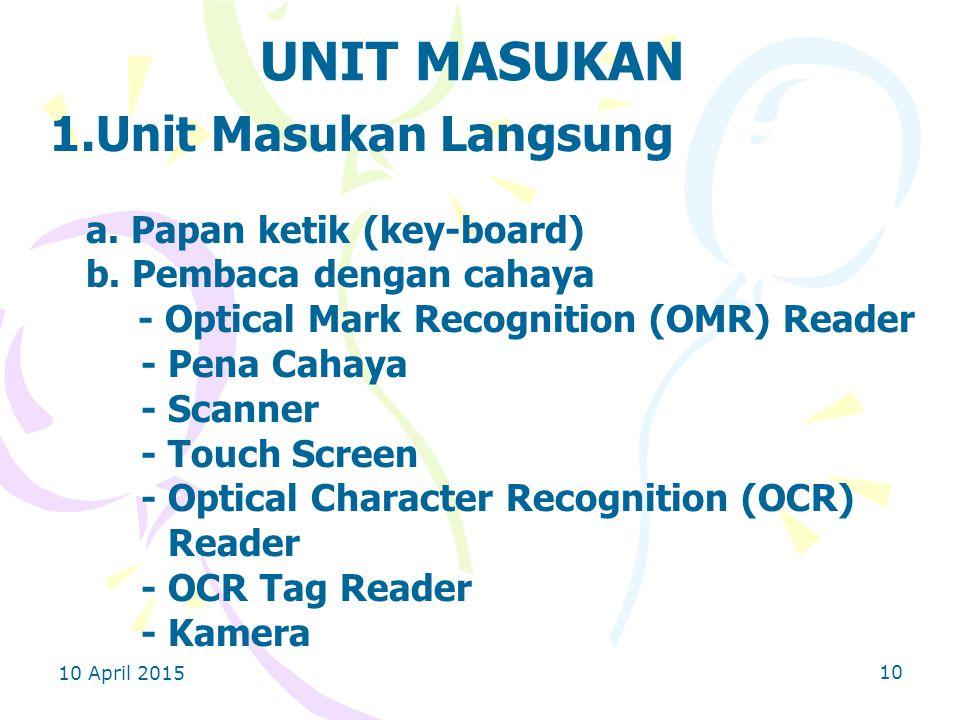 10 April 2015 10 UNIT MASUKAN 1.Unit Masukan Langsung a.