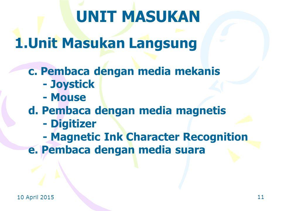 10 April 2015 11 UNIT MASUKAN 1.Unit Masukan Langsung c.