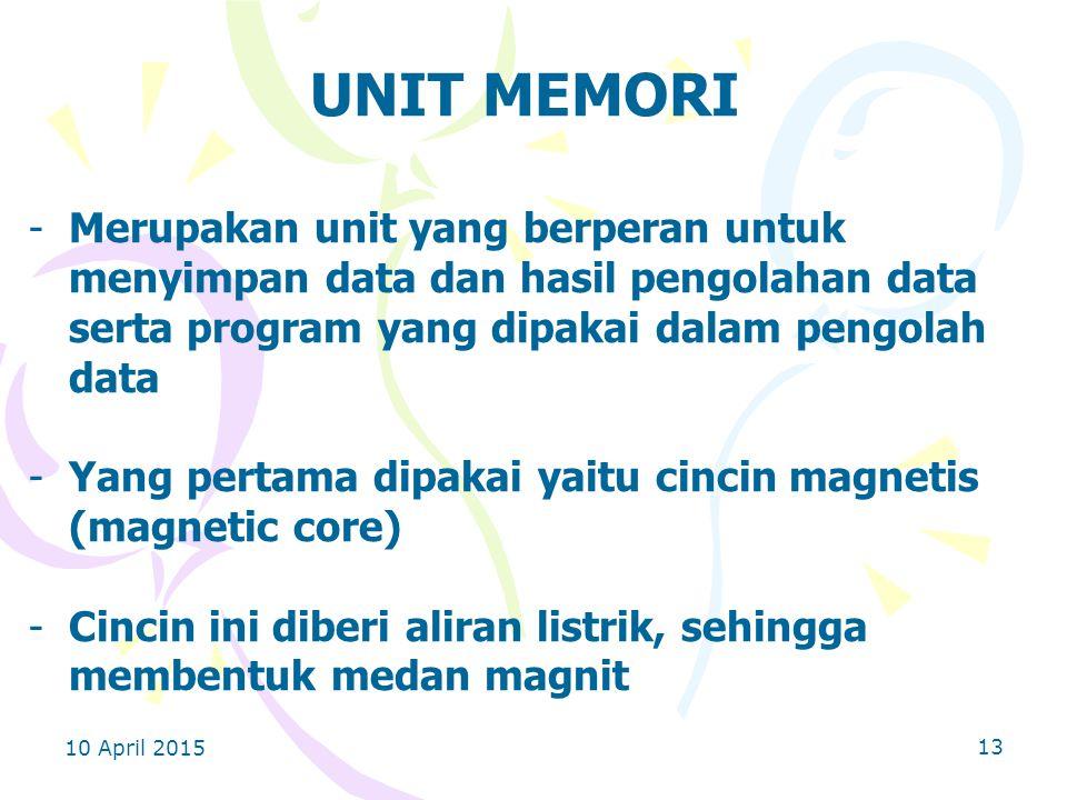 10 April 2015 13 UNIT MEMORI -Merupakan unit yang berperan untuk menyimpan data dan hasil pengolahan data serta program yang dipakai dalam pengolah data -Yang pertama dipakai yaitu cincin magnetis (magnetic core) -Cincin ini diberi aliran listrik, sehingga membentuk medan magnit