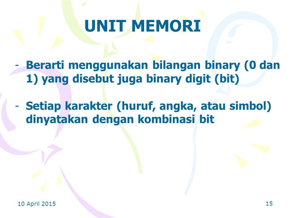 10 April 2015 15 UNIT MEMORI -Berarti menggunakan bilangan binary (0 dan 1) yang disebut juga binary digit (bit) -Setiap karakter (huruf, angka, atau simbol) dinyatakan dengan kombinasi bit