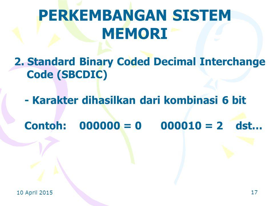 10 April 2015 17 PERKEMBANGAN SISTEM MEMORI 2.