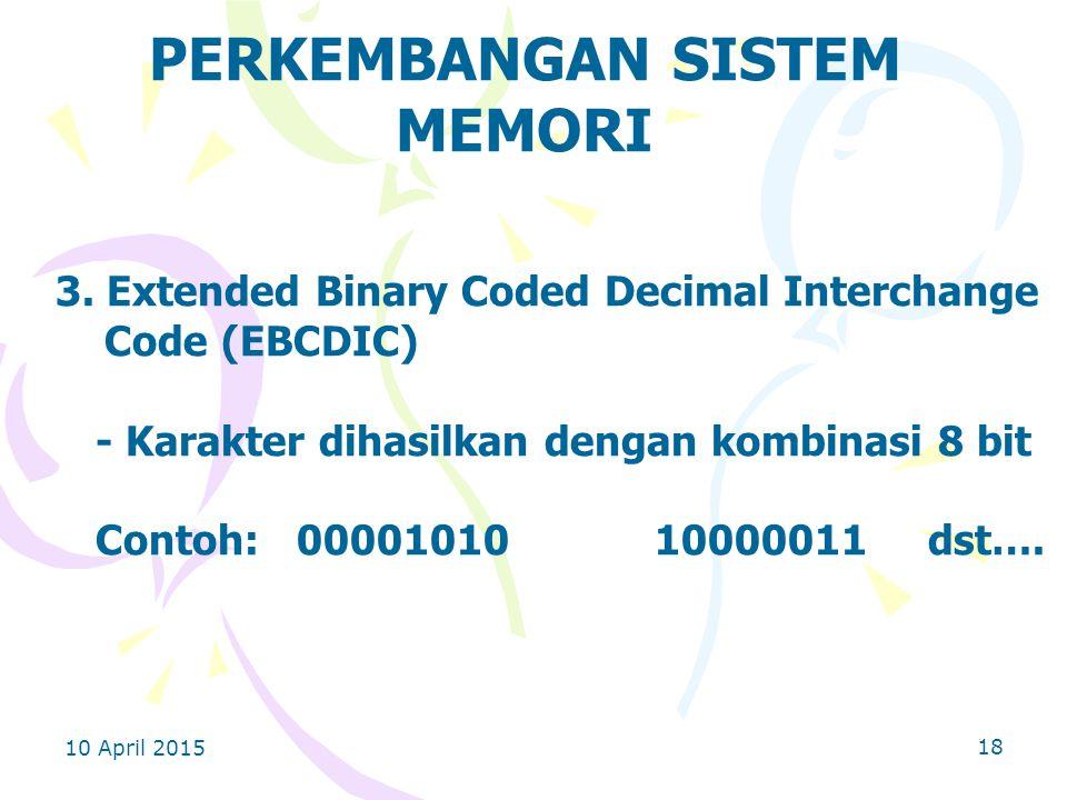 10 April 2015 18 PERKEMBANGAN SISTEM MEMORI 3.