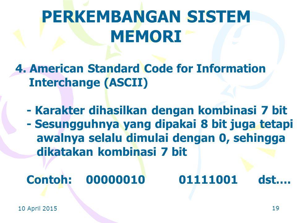 10 April 2015 19 PERKEMBANGAN SISTEM MEMORI 4.