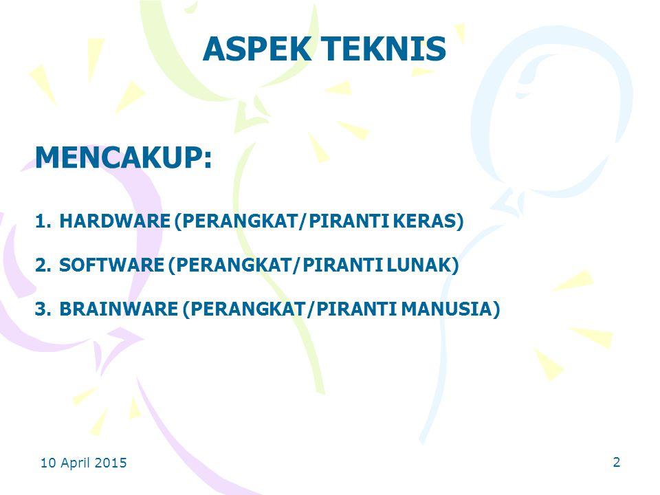10 April 2015 2 ASPEK TEKNIS MENCAKUP: 1.HARDWARE (PERANGKAT/PIRANTI KERAS) 2.SOFTWARE (PERANGKAT/PIRANTI LUNAK) 3.BRAINWARE (PERANGKAT/PIRANTI MANUSIA)