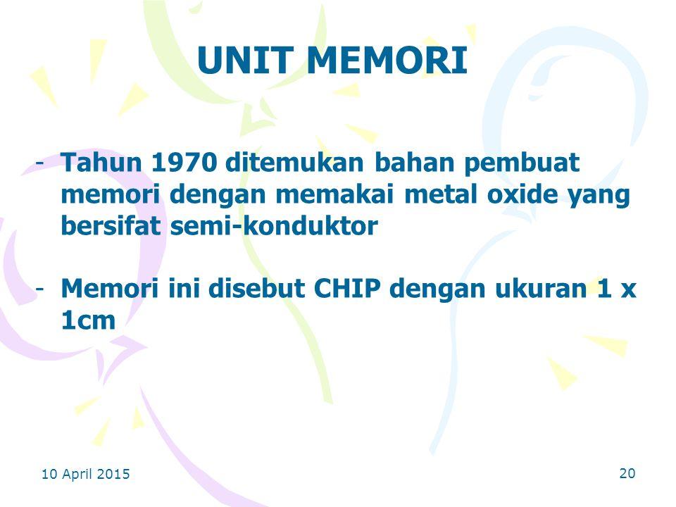 10 April 2015 20 UNIT MEMORI -Tahun 1970 ditemukan bahan pembuat memori dengan memakai metal oxide yang bersifat semi-konduktor -Memori ini disebut CHIP dengan ukuran 1 x 1cm