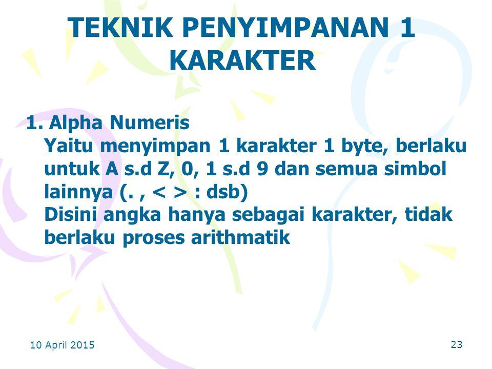 10 April 2015 23 TEKNIK PENYIMPANAN 1 KARAKTER 1.