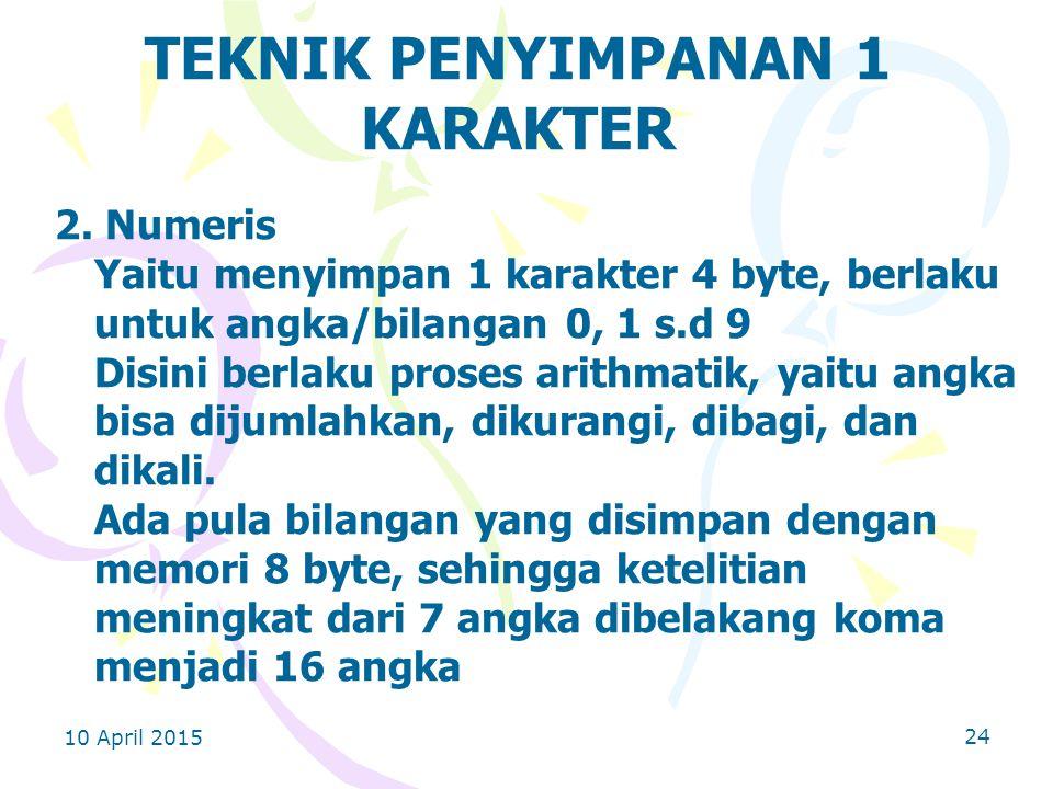 10 April 2015 24 TEKNIK PENYIMPANAN 1 KARAKTER 2.