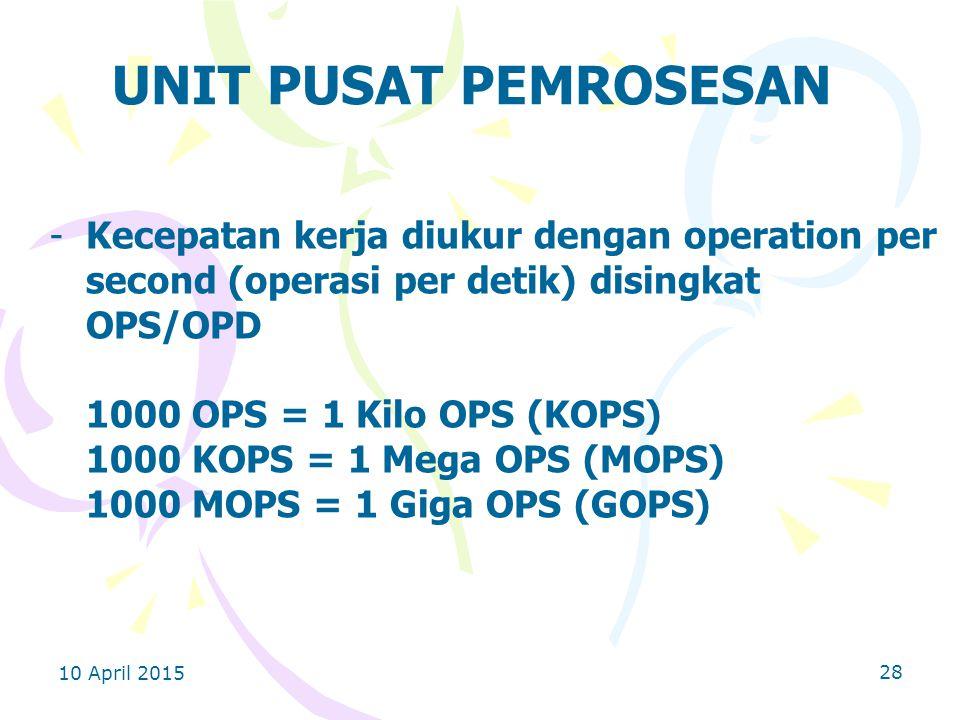 10 April 2015 28 UNIT PUSAT PEMROSESAN -Kecepatan kerja diukur dengan operation per second (operasi per detik) disingkat OPS/OPD 1000 OPS = 1 Kilo OPS (KOPS) 1000 KOPS = 1 Mega OPS (MOPS) 1000 MOPS = 1 Giga OPS (GOPS)