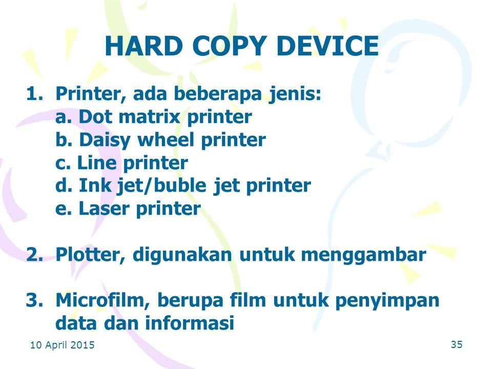 10 April 2015 35 HARD COPY DEVICE 1.Printer, ada beberapa jenis: a.