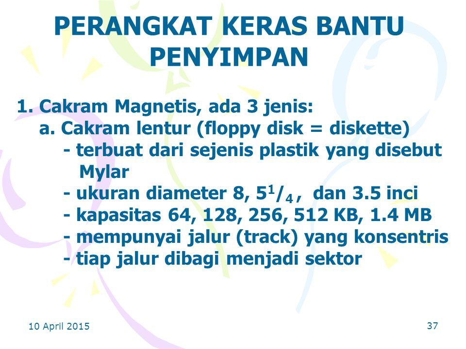 10 April 2015 37 PERANGKAT KERAS BANTU PENYIMPAN 1.