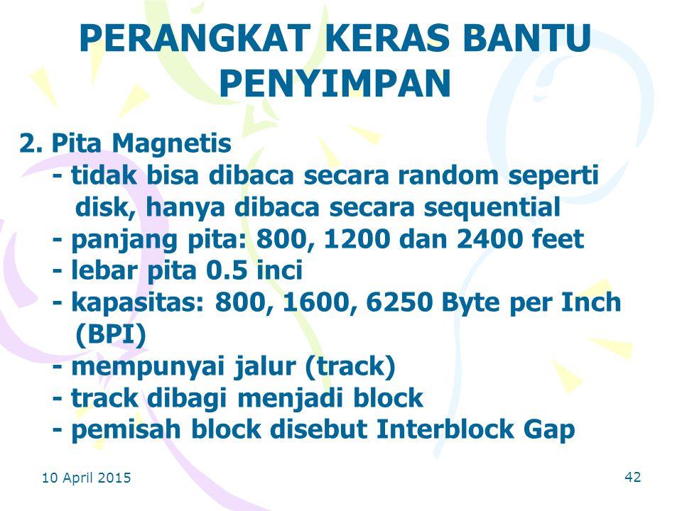 10 April 2015 42 PERANGKAT KERAS BANTU PENYIMPAN 2.