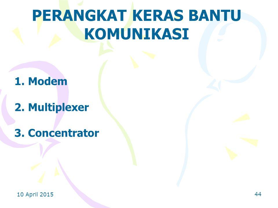 10 April 2015 44 PERANGKAT KERAS BANTU KOMUNIKASI 1. Modem 2. Multiplexer 3. Concentrator