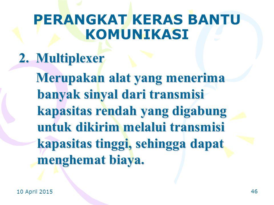 10 April 2015 46 PERANGKAT KERAS BANTU KOMUNIKASI 2.