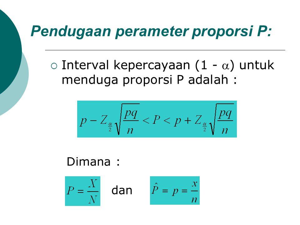 Pendugaan perameter proporsi P:  Interval kepercayaan (1 - ) untuk menduga proporsi P adalah : Dimana : dan